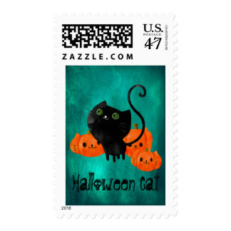 Cute Halloween cat with pumpkins Postage