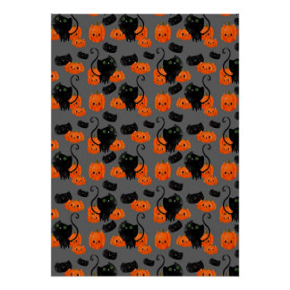 Cute Halloween cat with pumpkins Poster