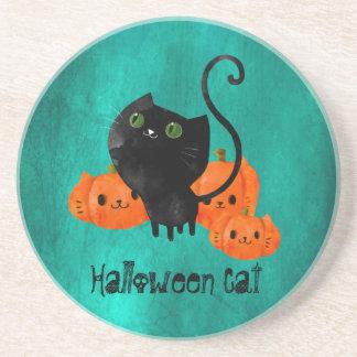 Cute Halloween cat with pumpkins Sandstone Coaster