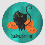 Cute Halloween cat with pumpkins Classic Round Sticker