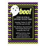"Cute Halloween Chevron & Ghost Party Invitation 5"" X 7"" Invitation Card"