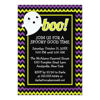 Cute Halloween Chevron & Ghost Party Invitation