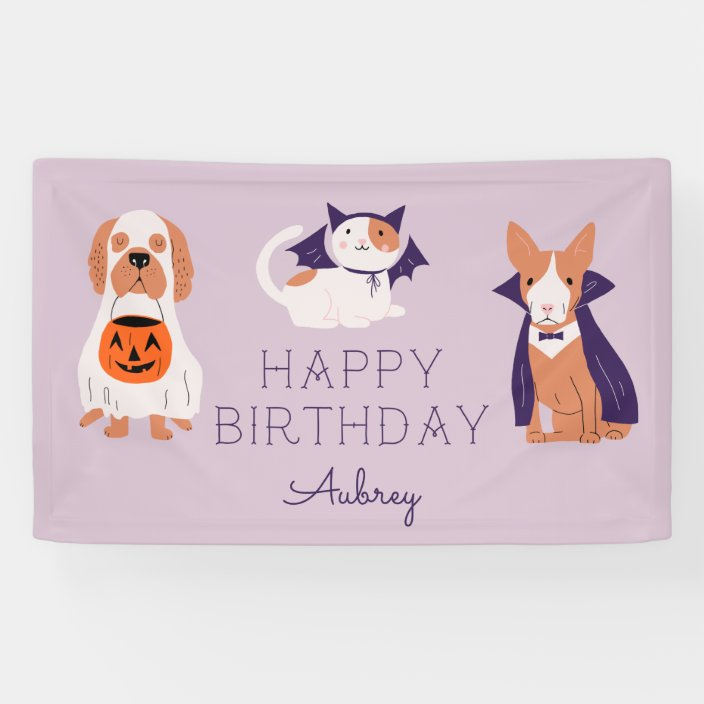 Cute Halloween Costume Pets Birthday Party Banner Zazzle Com