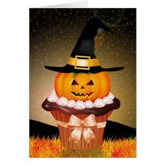 Cute Halloween Cupcake Greeting Card