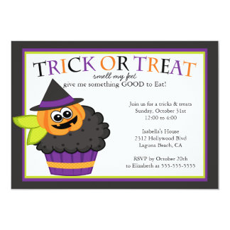 Cute Halloween Cupcake Kids Costume Party Card
