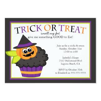 Cute Halloween Cupcake Kids Costume Party Card