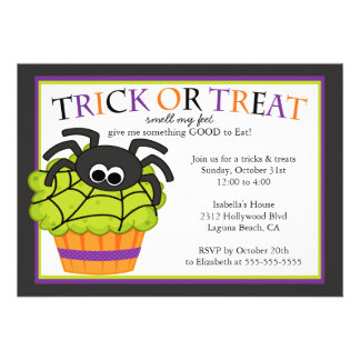 Cute Halloween Cupcake Kids Costume Party Cards