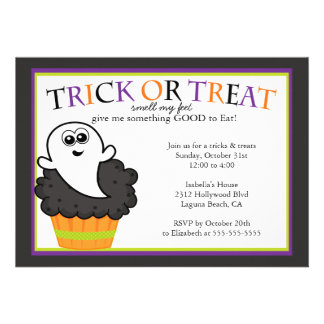 Cute Halloween Cupcake Kids Costume Party Personalized Invitations