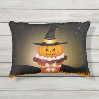 Cute Halloween Cupcake Outdoor Accent Pillow