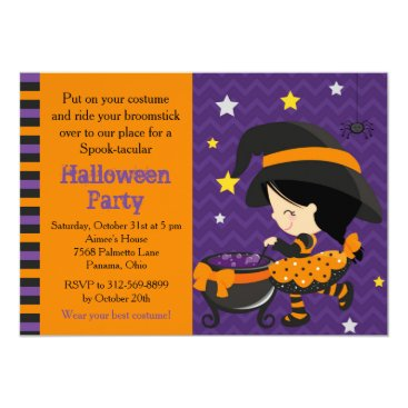 Halloween Themed Cute Halloween Dark Hair Witch Party Card
