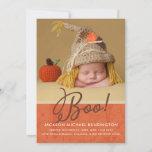 Cute Halloween Fall Autumn Baby Birth Photo Announcement