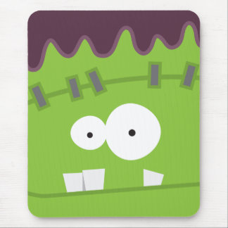Cute Halloween Frankenstein Monster Face Mouse Pad