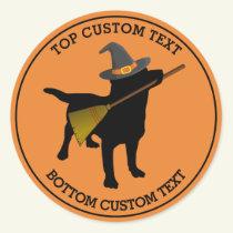 Cute Halloween Funny Black Lab Dog Witch Custom Classic Round Sticker