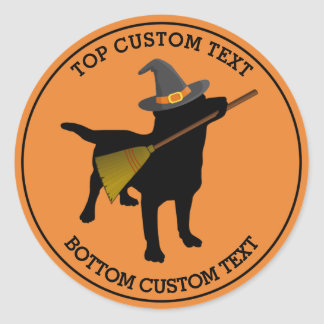 Cute Halloween Funny Black Lab Dog Witch Custom Classic Round Sticker