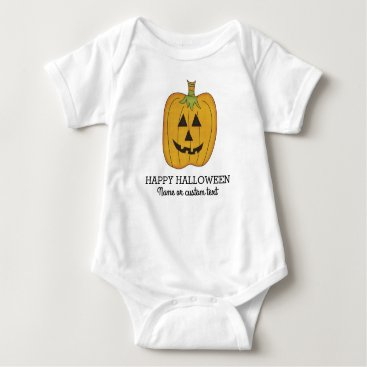 Halloween Themed Cute Halloween Funny Pumpkin Jack O Lantern Custom Baby Bodysuit