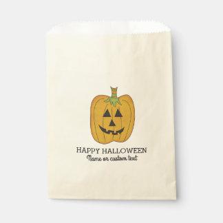 Cute Halloween Funny Pumpkin Jack O Lantern Custom Favor Bag