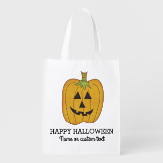 Cute Halloween Funny Pumpkin Jack O Lantern Custom Reusable Grocery Bag
