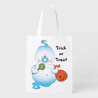 Cute Halloween Ghost Cartoon Reusable Grocery Bag