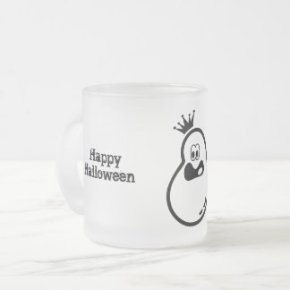 Cute Halloween Ghost with crown Frosted Glass Coffee Mug