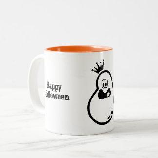 Cute Halloween Ghost with crown Two-Tone Coffee Mug
