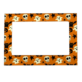 cute halloween ghosts and skulls magnetic photo frame