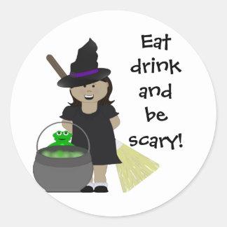 Cute Halloween Girl Classic Round Sticker
