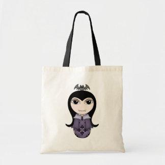 Cute Halloween gothic vampire girl in purple Canvas Bag