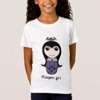 Cute Halloween gothic vampire girl in purple T-Shirt