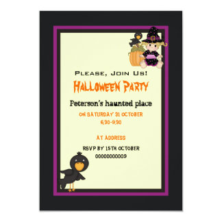 Cute Halloween haunted house and little witch 5x7 Paper Invitation Card