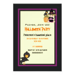 Cute Halloween haunted house and little witch Personalized Invitations