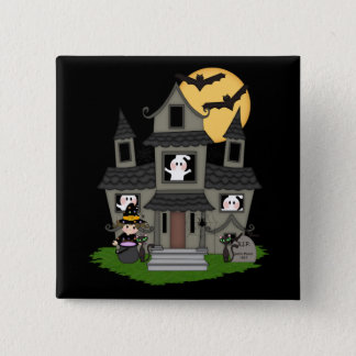 Cute Halloween haunted house and little witch Pinback Button