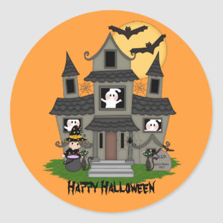 Cute Halloween haunted house & little witch Classic Round Sticker