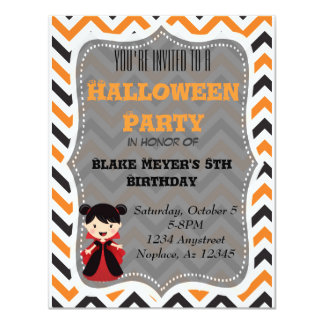 Cute Halloween invitation Chevron Vampire
