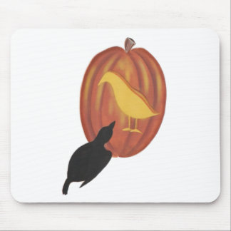 Cute Halloween Jack O'Lantern and Crow Mouse Pad