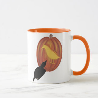 Cute Halloween Jack O'Lantern and Crow Mug