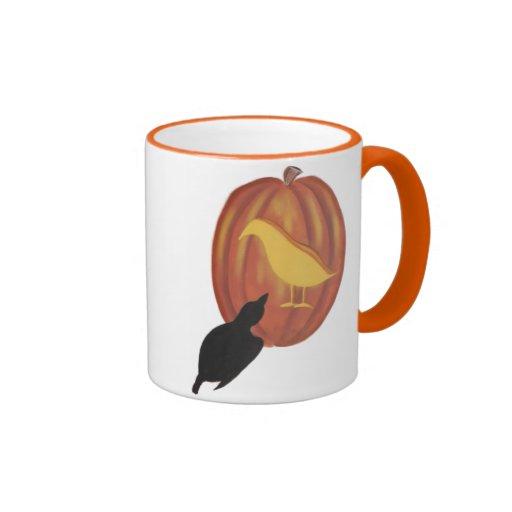 Cute Halloween Jack O'Lantern and Crow Mugs