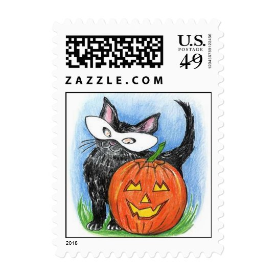 Cute Halloween JOL & Kitten In Mask Stamp Stamps