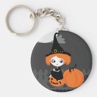 Cute Halloween Keychan Orange Pumpkin Witch Keychain