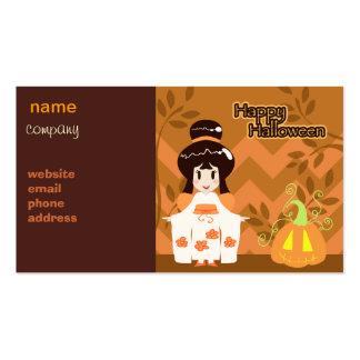 Cute Halloween Kimono Girl Business Card