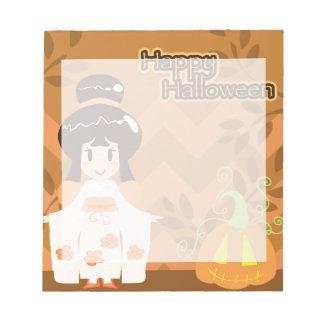Cute Halloween Kimono Girl Memo Pads