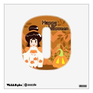 Cute Halloween Kimono Girl Wall Sticker
