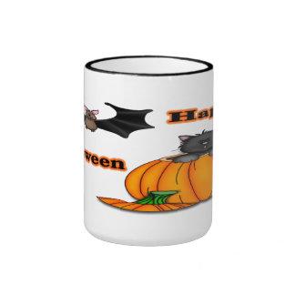 Cute Halloween Kitten, Bat Mugs