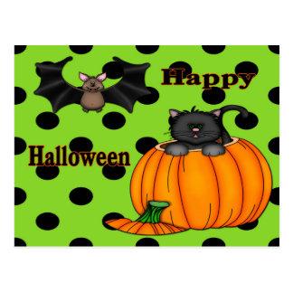 Cute Halloween Kitten, Bat Postcard