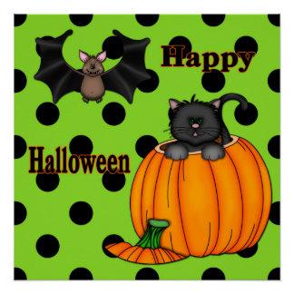 Cute Halloween Kitten, Bat Poster/Print Poster