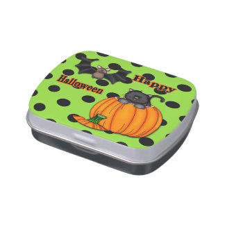 Cute Halloween Kitten, Bat Rectangle Candy Tin