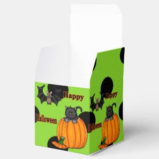 Cute Halloween Kitten, Bat Square Favor Boxes