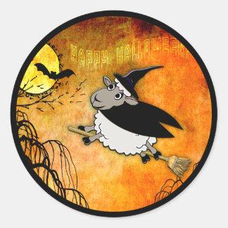 Cute Halloween Lamb-Witch Classic Round Sticker