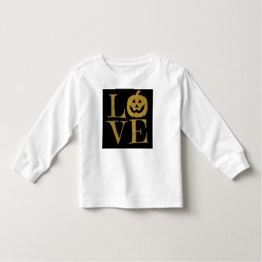 Halloween Themed Cute Halloween LOVE, w Gold Glitter Letters Toddler T-shirt