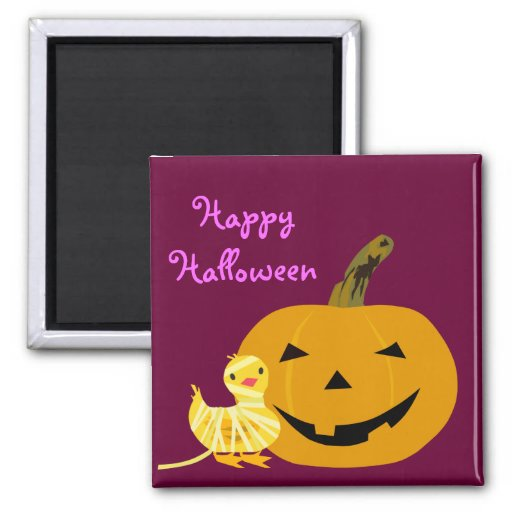 Cute Halloween Magnet: Duckling and Jack O Lantern 2 Inch Square Magnet