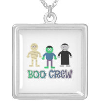 Cute Halloween Monsters Boo Crew square Silver Plated Necklace